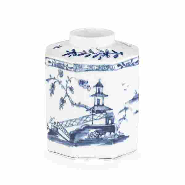 A Lowestoft tea canister, circa 1765
