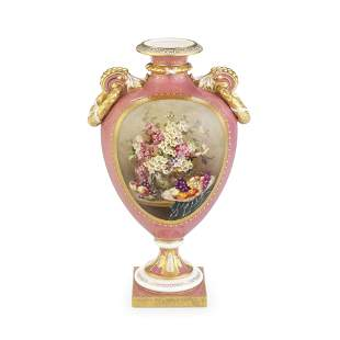 A fine Royal Worcester vase by William Hawkins, dated