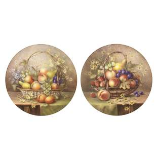 A good pair of Royal Worcester 'painted fruit' plaques
