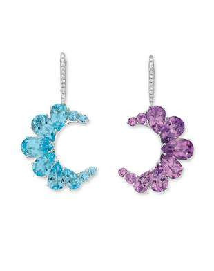 A PAIR OF AMETHYST, BLUE TOPAZ AND DIAMOND EARRINGS,