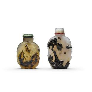 Two carved cameo agate snuff bottles Late 19th/early