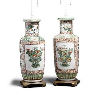 A pair of famille-verte and iron red rouleau vases Late