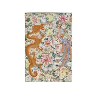 A 'mille-fleur' dragon and phoenix decorated plaque