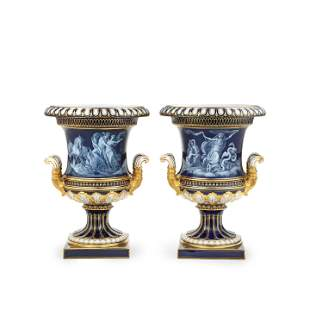 A PAIR OF MEISSEN 'LIMOGES ENAMEL' STYLE CRATER VASES,