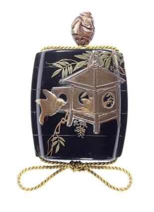 A black-lacquer four-case inro After Shibata Zeshin,