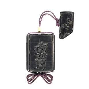 A black-lacquer three-case inro By Shibata Zeshin