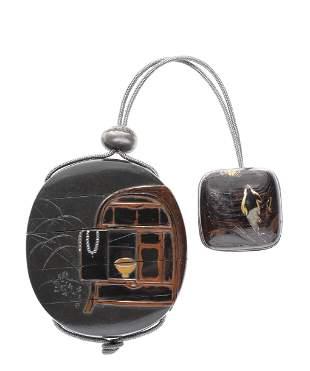 A lacquer four-case inro After Shibata Zeshin