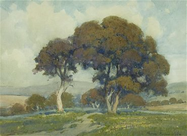 Percy Gray (1869-1952) Trees in a Clearing 11 1/4 x