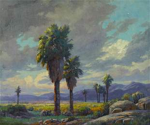 Paul Grimm (1891-1974) Stately Palms 20 x 24in framed