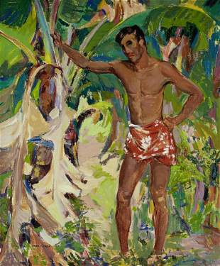 John O'Shea (1876-1956) Tahitian (Youth) 30 x 25in