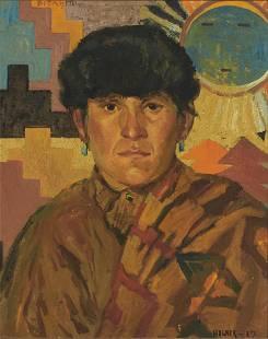 Nils Hogner (1887-1970) Portrait of a Navajo Man 16 x