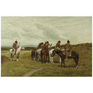 Charles Craig (1846-1931) Ute Scouting Party 24 x 36in