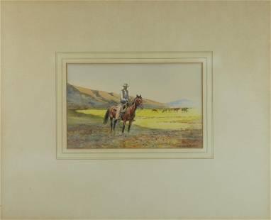 Edward Borein (1872-1945) Lone Cowboy sight 6 3/4 x 10