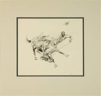 Edward Borein (1872-1945) Bucking Horse sight 9 1/4 x
