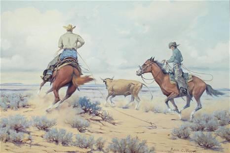 Melvin Warren (1920-1995) Two cowboys roping a steer 24