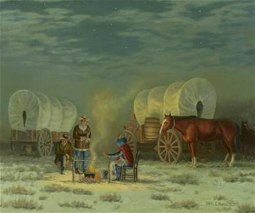 Melvin Warren (1920-1995) Wagon camp 20 x 24in framed