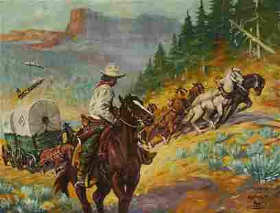 Frank B. Hoffman (1888-1958) Wagon Boss 22 x 29in