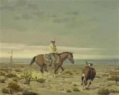 Melvin Warren (1920-1995) Cowboy and steer 24 x 30in