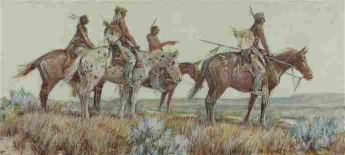 Nick Eggenhofer (1897-1985) Four Mounted Native
