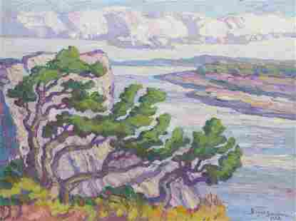 Birger Sandzén (1871-1954) Riverbank with Cedars,