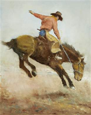 Fried Pal (1893-1976) Bucking Bronco 30 x 24in framed