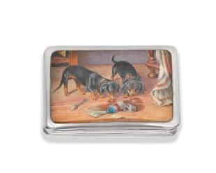 Three silver and enamel cigarette cases