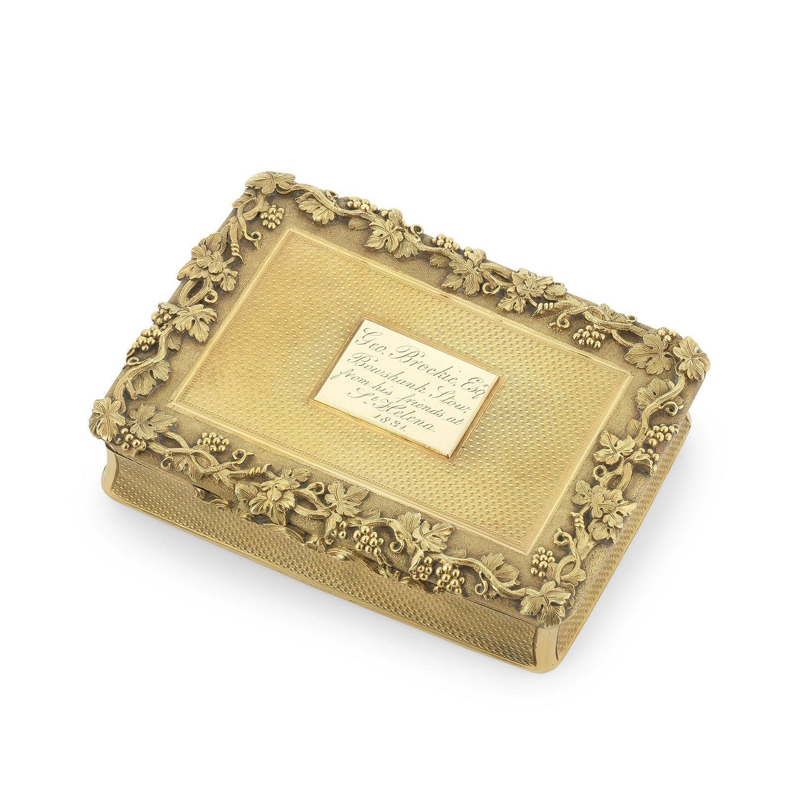 A William IV silver-gilt snuff box