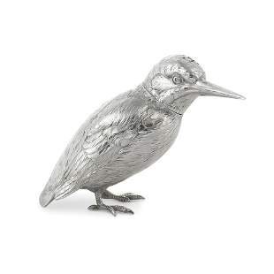 A German novelty silver pepper modelled as a Kingfisher