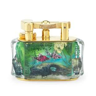 DUNHILL: a good gilt-plated and lucite 'Aquarium'