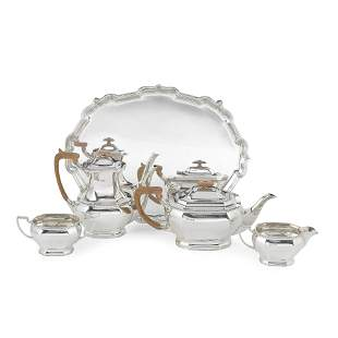 A silver four-piece tea and coffee service together