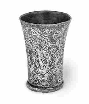 A PEWTER WRIGGLEWORK BEAKER, DUTCH, CIRCA 1700