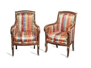 A PAIR OF CHARLES X MAHOGANY AND BOXWOOD LINE-INLAID