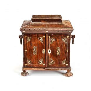 A WILLIAM IV ROSEWOOD AND MOTHER OF PEARL INLAID TABLE