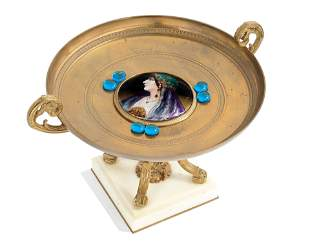 A 19TH CENTURY FRENCH GILT BRONZE AND LIMOGES STYLE