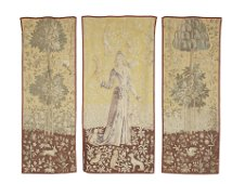 A SET OF THREE ATTRACTIVE GENRE TAPESTRY PORTIERE,