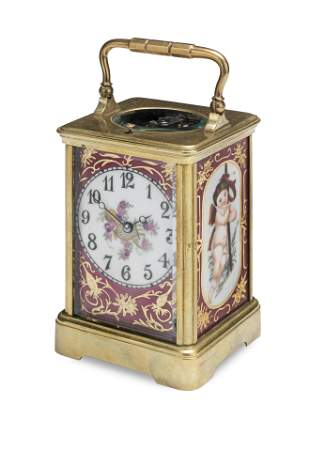A PORCELAIN PANELLED CARRIAGE CLOCK