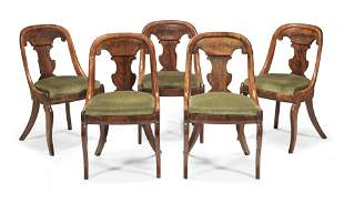 A SET OF FIVE LOUIS PHILIPPE MAHOGANY TUB BACK CHAISES