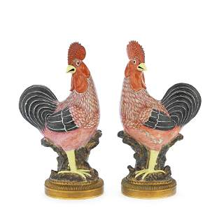 A PAIR OF GILT BRONZE MOUNTED CHINESE FAMILLE ROSE