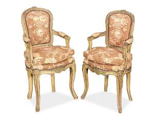 A PAIR OF FRENCH 19TH CENTURY PAINTED BEECH CHILDS'