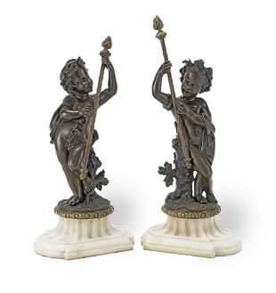 A PAIR OF 19TH CENTURY FRENCH PATINATED BRONZE FIGURES