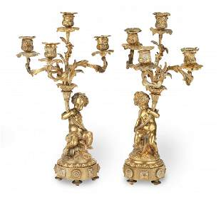 A PAIR OF 19TH CENTURY FRENCH GILT BRONZE CANDELABRA