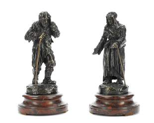A PAIR OF LATE 19TH CENTURY PATINATED BRONZE GENRE
