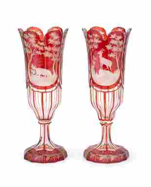 A PAIR OF RUBY FLASHED GOBLET VASES