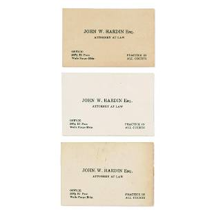 JOHN WESLEY HARDIN'S BUSINESS CARDS.