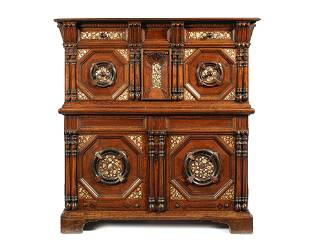 A Documented 17th Century Oak And Walnut Enclosed