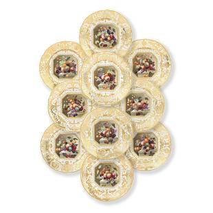 A Set Of Ten Derby Dessert Plates, Circa 1825