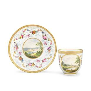 A Derby Coffee Cup And Saucer By Zacahariah Boreman