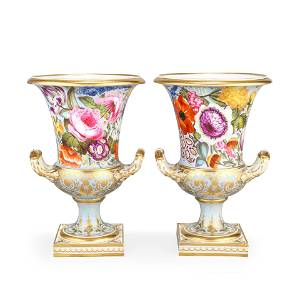 A Pair Of Derby Vases, Circa 1815
