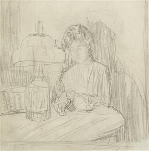 Gwen John (British, 1876-1939) A Woman Sewing by