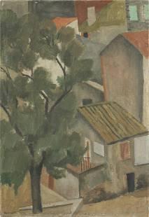 Nina Hamnett (British, 1890-1956) Rooftops 53.4 x 36.8